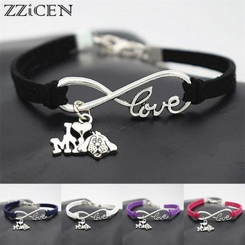 Fashion Cute Antique Silver I Love My Dog Charm Pendant Infinity Leather Bracelets for Women Girls Dogs Lover Gifts Jewelry