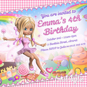 Fairy Candyland Girls Birthday Invitation - party fairyland girly invite - lollies candy - digital file customised with your details