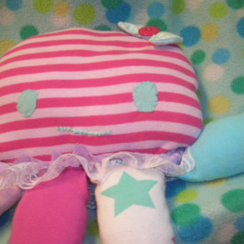 clementine the jellyfish, recycled rag doll handstitched sea friend lovey stuffed animal sweetie cute sweet baby plush pink aqua striped