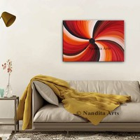 """Swirl Red Oil Painting Abstract Modern Wall Art 36"""" Wall Hanging Home Decor or Living Room Decor, Original Canvas Art Gift By Nandita"""