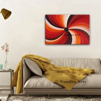 "Swirl Red Oil Painting Abstract Modern Wall Art 36"" Wall Hanging Home Decor or Living Room Decor, Original Canvas Art Gift By Nandita"