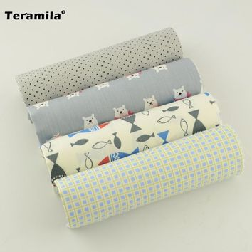 100% Cotton Fabric Material 4 Clolor Collection Bedding Home Textile cushion Decoration Quilting Printed Pretty Style Patchwork