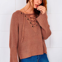 Cupshe Out Of Shadows Lace Up Sweater