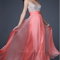 A-line Floor Length V-neck Hot Pink Promdress102034 Sequins Belt