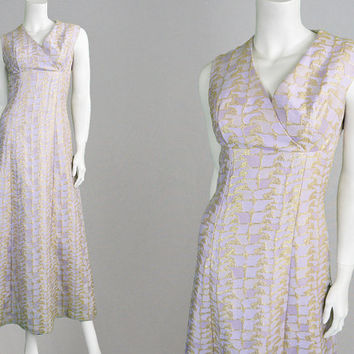 Vintage 70s Evening Gown Lilac Dress Pastel Purple & Gold Brocade Dress 70s Evening Dress Metallic Dress Boho Dress Party Dress Long Dress