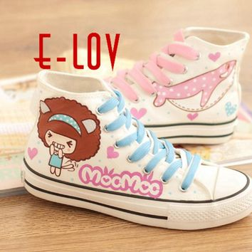 E-LOV Smile Girl Painting Designs Hand-Painted Canvas Shoes Personalized Adult Casual Shoes Cute Platform Shoes Custom Designs