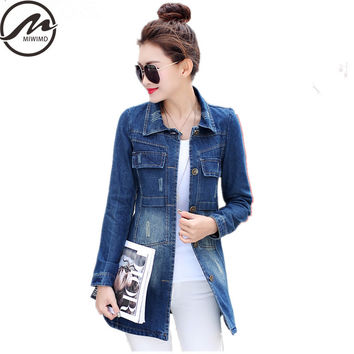 Plus Size Spring Autumn Coat 2017 New Fashion Women Vintage Casual Slim single-breasted long-sleeve frayed denim Trench Coat