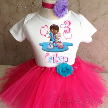 Doc McStuffins first 1st 2nd 3rd 4th 5th 6th 7th Birthday Personalized Custom Name Age Shirt Tutu Set Girl Outfit pink purple headband
