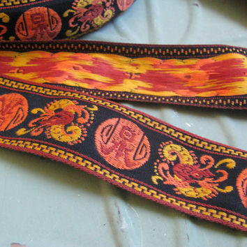 Asian Woven Vintage Jacquard Ribbon Trim, 3 yards, Vintage Sewing, Asian Inspired Trim, Woven Jacquard