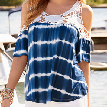 Summer Fashion Lacy Stitching Blue Tie-dye Gradient Color Cold Shoulder T-shirt