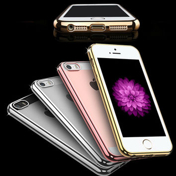 Fashion Plating Soft TPU Celular For Apple iPhone 4 5 6 6PLus SE Slim Transparent Clear TPU Case On 4S 5S 6S Plus Silicone Cover