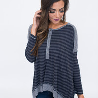 Charcoal Striped High Low Top
