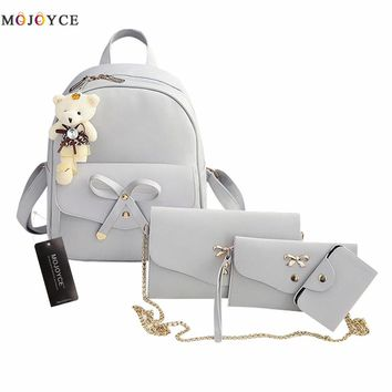 2017 New Women Backpack Small Size Fashion Backpacks for Teenage Girls PU Leather Women's Backpacks with Purses 4 Sets