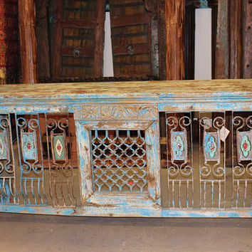 Antique Distressed TV Console Table Hand Carved Iron Jali Rustic Wood Console Table Farmhouse Design