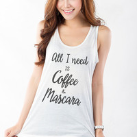 All I need is coffee and mascara T Shirt Tank Tops for Women White Workout Racerback Tank Teen Girls Fashion Street Style Hipster Tumblr Top