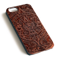 Aztec Calendar Natural wood iPhone case laser engraved iPhone case WA021