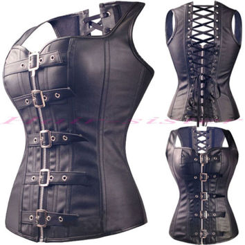 Sexy Women STEEL BONED Faux Leather Corset Steampunk Bustier Top Lingerie Black