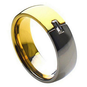 Titanium Two-tone with Emerald-Cut Cubic Zirconia Mens/Womens Wedding Band Ring (7mm): Size  12