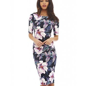 Designer Elegant Floral Print Work Business Casual Party dress