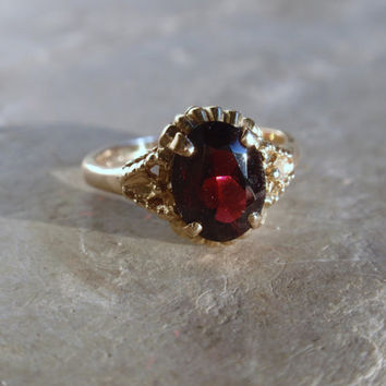Vintage Garnet Ring 1960s oval solitare yellow gold January birthstone red stone    10% OFF coupon in item detail