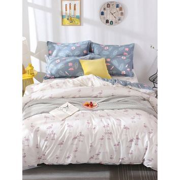 Flamingos & Leaf Print Duvet Cover
