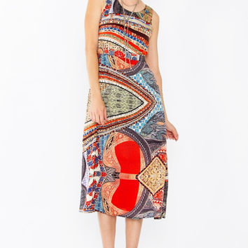 Sugar Lips Worldly Views Sleeveless Printed Midi Dress