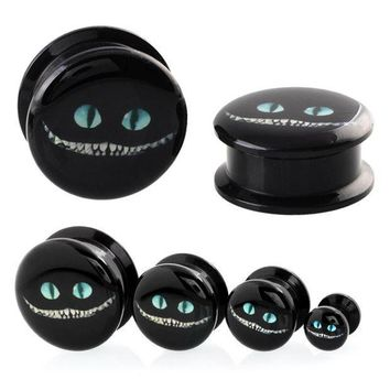 ac ICIKO2Q 2PCS Acrylic Alice in Wonderland Cheshire Cat Cartoon  Design Ear Plugs and Tunnels Ear Gauges Earrings Body Piercing Jewelry
