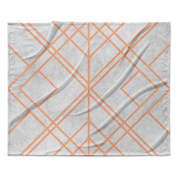 "Tobe Fonseca ""Art Deco Lines Pattern"" Pink Gray Geometric Modern Illustration Mixed Media Fleece Throw Blanket"