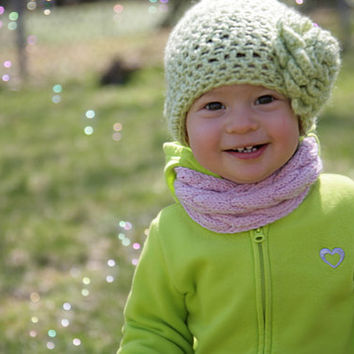 Crochet Hat w Large Crochet Flower (newborn, child, toddler, adult) - most of the colors