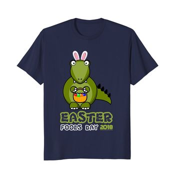 Easter Fools Day 2018 With Dinosaur Bunny Ears Funny T-Shirt
