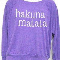 Hakuna Matata Women Tri-Blend Raglan Pullover American Apparel Light Weight S, M, L