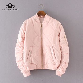 Trendy Bella Philosophy 2018 quilting bomber jacket women spring coat zipper long sleeve winter jacket cotton-padded pink outwears AT_94_13