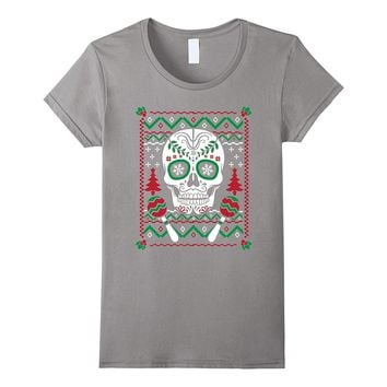 emoji Mexican Ugly Christmas Sweater look Skull Xmas T shirt