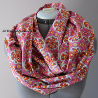 Pink and Orange Flower Cotton Infinity Scarf