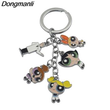 M494 Dongmanli Anime The Powerpuff Girls Figures Key Chain Blossom Professor Utonium Keyring Round Cartoon Trinkets Keychain
