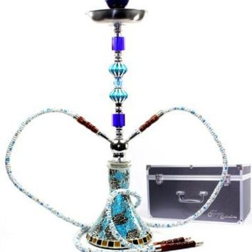 "GSTAR Elite Series: 26"" 2 Hose Hookah Complete Set with Optional Carrying Case - Mosaic Tile Art Glass Vase - (Aqueous Blue w/ Case)"