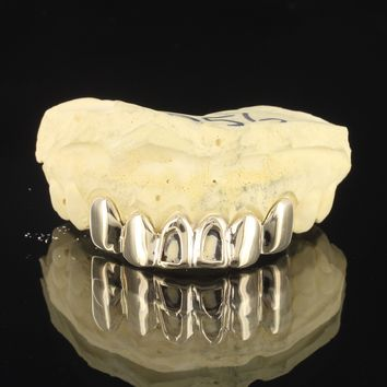 10k Gold Men's Open Face Custom Plain Top Grillz