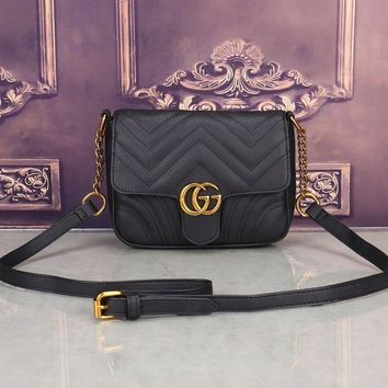 ESBONS Gucci' Women All-match Fashion Simple Double G Wave Stripe Quilted Small Metal Chain Single Shoulder Messenger Bag