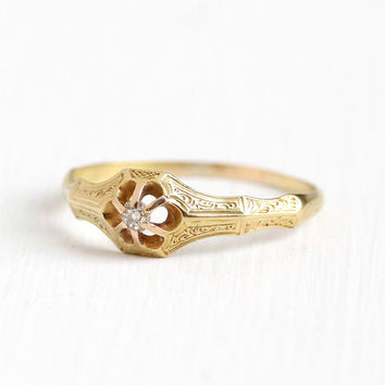 Antique Victorian 18k Yellow Gold Old Mine Cut Diamond Ring - Vintage Size 9 1/4 Raised Belcher Solitaire Engagement Promise Fine Jewelry