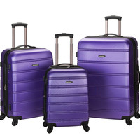 F160-PURPLE Melbourne 3 Pc Abs Luggage Set