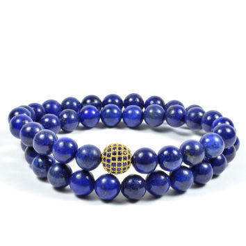 Wraparound 8mm Lapis Lazuli and 10mm CZ in Blue and Gold