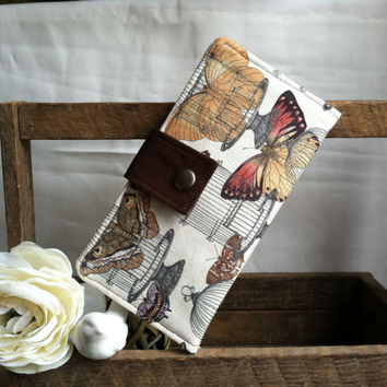 Butterfly and bird cages folded wallet with coin pouch, card slots, bill slots