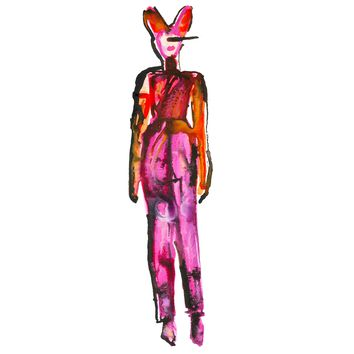 Bunny Girl Watercolor Painting