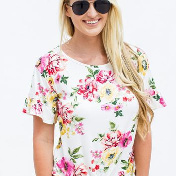 Ruffled Floral Knot Top - Ivory