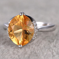 2.5ctw Olive Shape Natural Citrine Bridal Ring,Engagement ring,14k Yellow gold,Diamond wedding band,Unique Design,Promise Ring,Pave Set