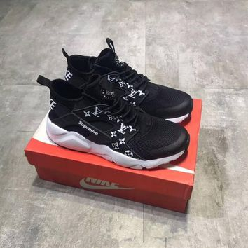 """Supreme x LV x Nike Air Huarache 4"" Unisex Sport Casual Fashion Letter Logo Running Shoes Couple Sneakers"