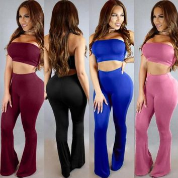 summer women sexy wrapped chest and belly and wide leg pants suit pants female Siamese