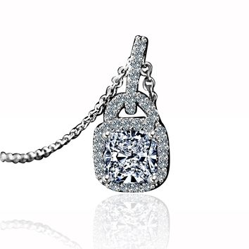 1CT Cushion Square Center Simulated Diamond - Diamond Veneer Double Bail Halo Sterling Silver Pendant 635P25368