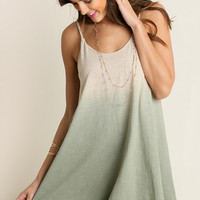 Sage Ombre Dress with Tassel Trim