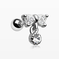 Sparkle Dangle Bow-Tie Cartilage Tragus Barbell